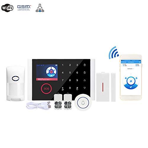 WZHESS WiFi del Sistema de casa Inteligente de Seguridad, de 2,4 Pulgadas de Pantalla LCD de la Alarma de gsm + WiFi del Sistema, Alarma casero sin Hilos antirrobo Alarma antirrobo