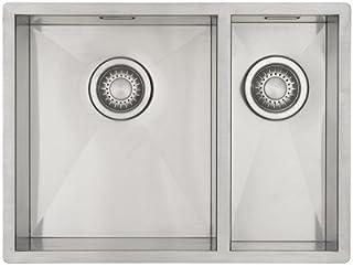 Edelstahl Küchenspüle/Spülbecken MIZZO Quadro 3418 Flächenbündig/Unterbau - Doppelbecken Edelstahlspüle - 590x 444 mm
