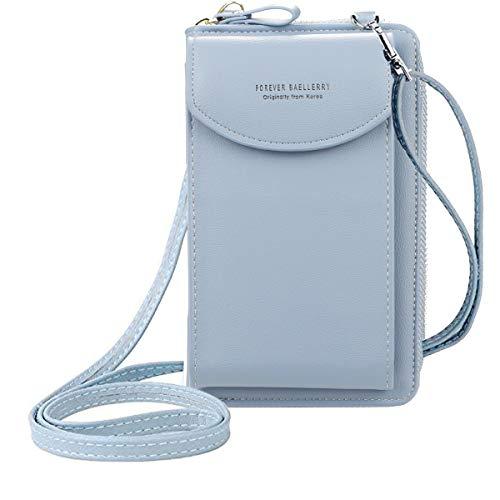 ZhengYue kleine Crossbody Tasche Handy - Tasche Brieftasche mit Credit Card Slots für Frauen Blau