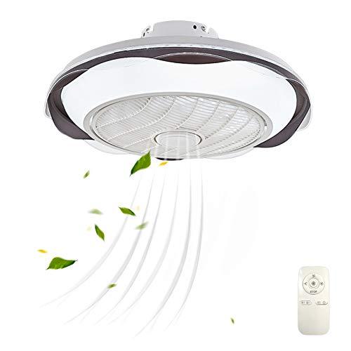 LED Silencioso Invisible Ventilador Plafón Lampara Regulable Dormitorio Ventilador de Techo con Iluminación Ruido Bajo 3 Temperaturas de Color para Sala de Estar Comedor Negro VOMI