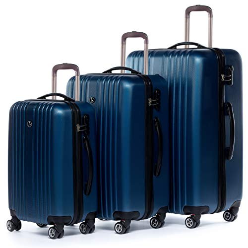 FERGÉ 3-delige koffer-set Reisbagage TOULOUSE premium harde spinner premium bagage-koffer blauw