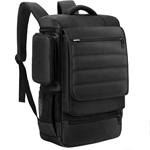 BRINCH Laptop Backpack, Spacious School Backpack Travel College Knapsack Outdoor Backpack Student Backpack Hiking Bag for 17-17.3 Inch Laptop/Notebook/MacBook Computer, Black