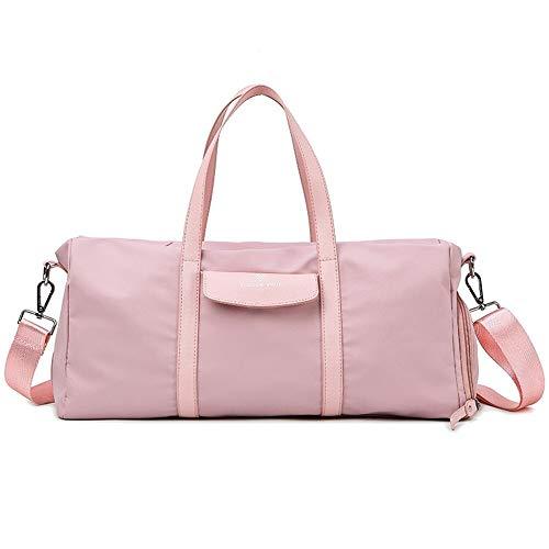 HUUATION Bolsas de Gimnasio de Nylon a Prueba de Agua para Hombres para Hombres Mujeres Entrenamiento Fitness Travel Bolso Yoga Mat Bolsa de Deporte con Zapatos Compartimiento(Pink)