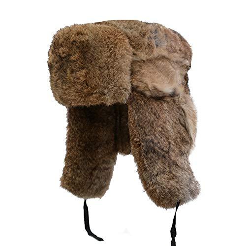 Yosang Genuine Rabbit Fur Russian Ushanka Winter Hat Trapper Bomber w/Ear Flaps (Large(56-58 cm), Brown)
