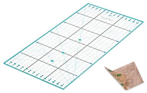 Patchwork Lineal 30x15cm mit gratis Anti Rutsch Aufklebern. Transparentes Universal Lineal mit cm und Winkel-Maßen