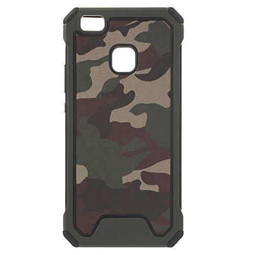 jbTec Hybrid Hülle Handy-Hülle Camouflage - Schutzhülle Schutz-Schale Cover Tasche Etui Silikon Handyhülle Handytasche, Farbe:Oliv-Grün, passend für:Huawei P9 Lite/Dual SIM