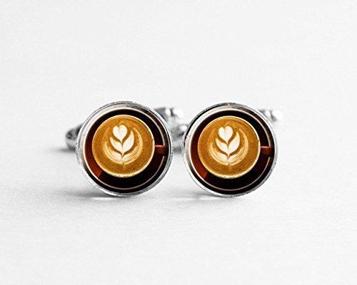 Kaffee-Manschettenknöpfe, kreativer Kaffee-Manschettenknöpfe, Kunst-Manschettenknöpfe, Silberschmuck, Hemd-Manschettenknöpfe, Glas-Cabochon-Manschettenknöpfe, personalisierbare Manschettenknöpfe