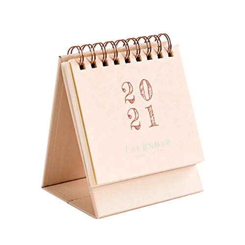 2020-2021 Yearly Mini Desk Calendar Steel Coil Spiral Desktop Self Standing Flip Calendar Table Pad for Office Home School, Planner Organizer Designed to Set Goals and Get Things Done Goal Journal