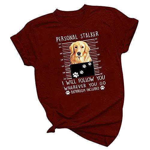 Camiseta de manga corta para mujer con diseño de pata de perro y perro