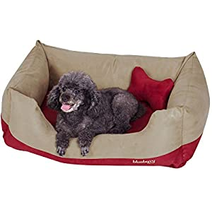 Blueberry Pet Heavy Duty Microsuede Overstuffed Bolster Lounge Dog Bed, Removable & Washable Cover w/YKK Zippers, 34″ x 24″ x 12″, 11 Lbs, Beige and Red Color-Block Beds for Cats & Dogs