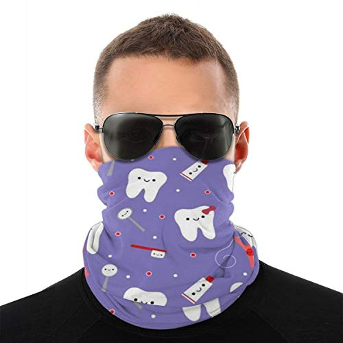 Dental Floss Summer Seamless Neck Gaiter Magic Face Scarf Bandana Headwear Mouth Cover for Fishing Motorcycling Running White