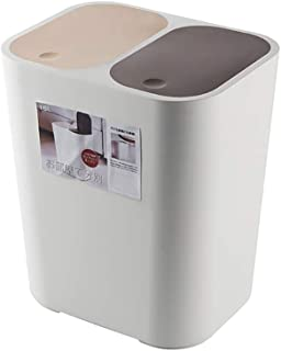 FuLov Recycle Bin Trash Can Pop Up Lid Detachable Small Durable with 2 Compartments Slimline Soft-Closing, for Office Kitchen Home Bathroom