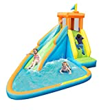 8. HONEY JOY Inflatable Water Slide, Kids Bounce House w/Long Slide, Climbing Wall, Splash Pool, Including Oxford Carry Bag, Repairing Kit, Stakes, Hose, Outdoor Party Water Play Center