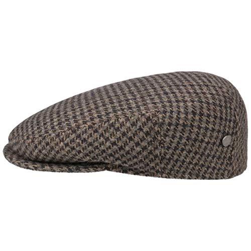 Lierys Casquette Britain Pied-de-Poule Homme - Made in Italy Gavroche pour l'hiver avec Visiere, Doublure Printemps-ete - 55 cm Marron