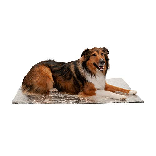 Furhaven Pet Dog Bed Heating Pad - ThermaPup Reflective Insulated Thermal Self-Warming Pet Bed Mat Pet Mat for Dogs and Cats, Silver, Jumbo