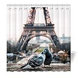 YISUMEI Motiv Duschvorhang 180x200 Eiffelturm Küsst Tauben Antischimmel Waschbar Textil mit Duschvorhangringen