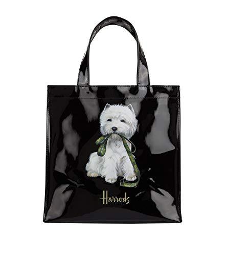 harrods Westie Puppy Small Shopper Bag - Borsa a mano nera in PVC - chiusura con bottone magnetico e taschino interno porta cellulare ID 5573464