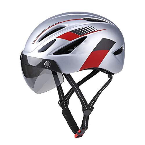 Bicicleta Casco De Bicicleta, Casco De Ciclismo con Gafas Magnéticas Desmontables, Luz Trasera LED Recargable Casco Ligero para Ciclismo Adulto/Hombre/Mujer/Juventud,Silver & Red