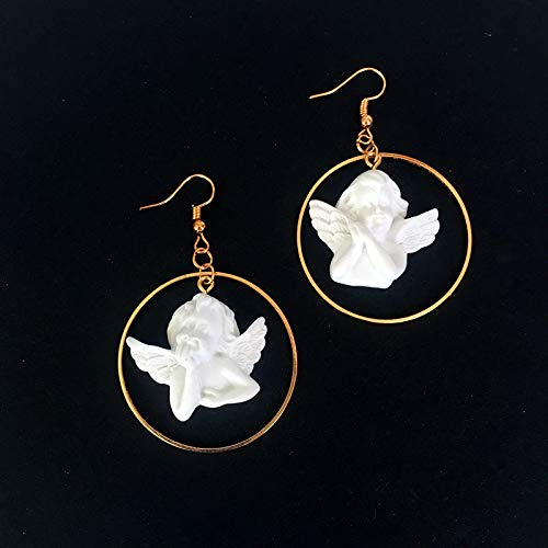 Earthily Pendientes estética, Ángel Lucky Pendientes, Mujeres Creative Jewelry Joyería, Pendientes Colgantes de Moda para Mujeres, Pendientes Estética (Color : A Ear Hook Earrings)