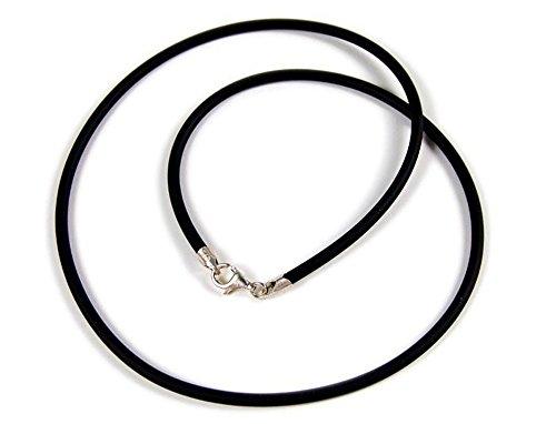 Minott Kautschuk-Band Kette Halsband schwarz Ø ca. 3mm 22073, Länge:40 cm