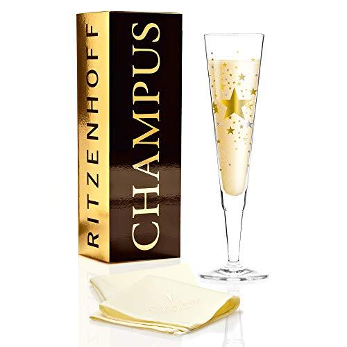 Ritzenhoff Champus Champagnerglas, Glas, Gold, Platin, 0.1 cm