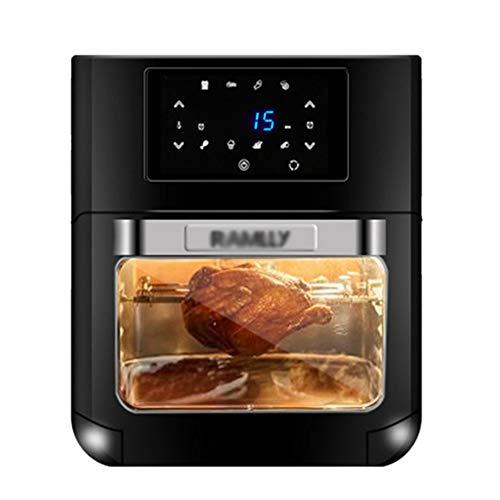 Horno electrico de sobremesa Mini horno Hogar multifuncional 12L Capacidad 360 ° Tambor de acero inoxidable Rotación de la jaula Diseño compacto 1700W Herramientas de cocina Negro Pequeño ayudante