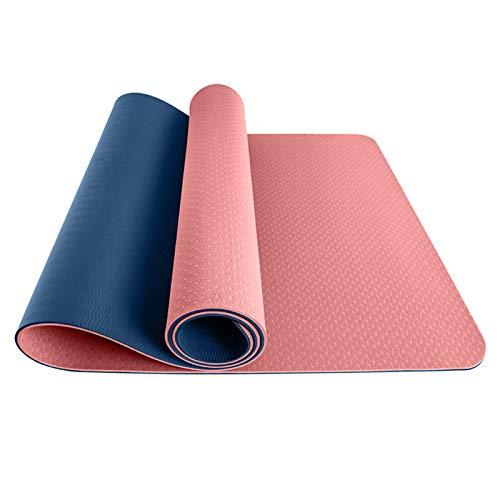 JUNKUN Esterilla de Yoga - Esterillas de Yoga Antideslizantes de TPE de Hot Yoga Mat con líneas de alineación, Correa de Transporte Gratis y Bolsa Adecuado para Interiores y Exteriores