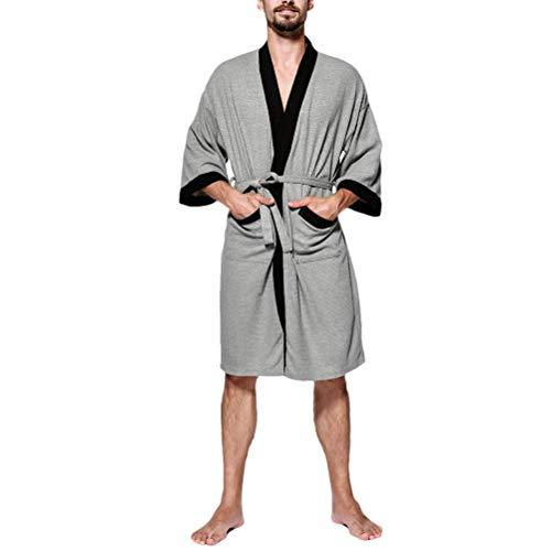 Kristallly Mannen Wafel Robe Pure Katoen Lichtgewicht Badjassen Heren Kimono Eenvoudige Stijl Wrap Loungewear Voor Alle seizoenen Spa Hotel Pool Home Mode Comfortabele pyjama