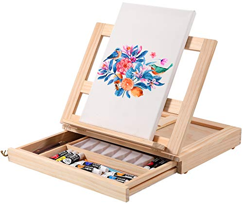 ARTIBOX Tabletop Easel Painting Kit, Acrylic Paint Set with 12 Color Acrylic Paints, Canvas, Brushes, Palette Knives and Palette for Adults Kids Students Artists