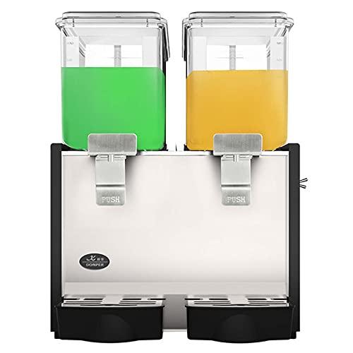 snmi Dispensador de Bebidas Comercial 30L Dispensadores de Bebidas de Zumo de Fruta Frío y Caliente 2 Tanques 15L por Tanque con Controlador de Termostato