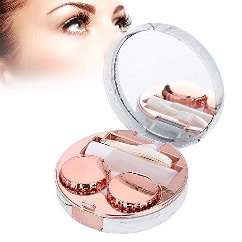 Caja de lentes de contacto, Estuche portátil para lentes de remojo con plástico + patrón de mármol, contenedor para el cuidado de los ojos(Red)