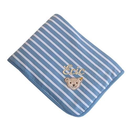 Steiff Jerseydecke mit Name bestickt hellblaue Blockstreifen forever blue 90 cm x 60 cm personalisierte Babydecke mit Teddybär-Applikation Namensdecke Streifer