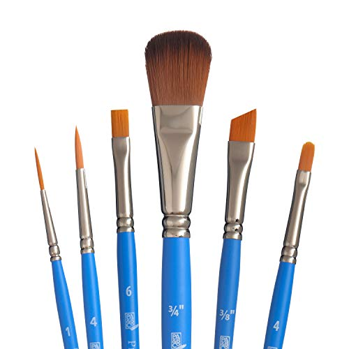 Princeton Select Artiste, Series 3750, Paint Brush for Acrylic, Watercolor and Oil, Set of 6