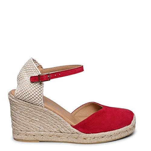 Zapatos miMaO. Zapatos de Piel Mujer Hechos EN ESPAÑA. Cuña de Esparto Alta. Alpargata de Esparto Cómoda con Plantilla Ultra Confort Gel
