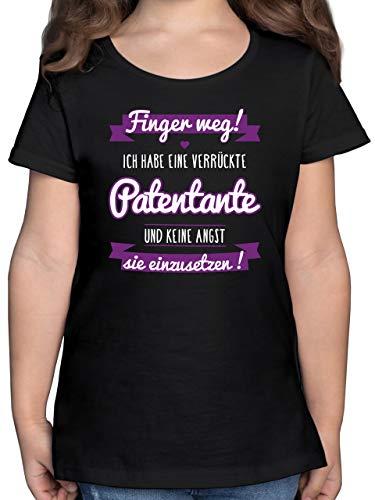 Sprüche Kind - Ich Habe eine verrückte Patentante lila - 128 (7/8 Jahre) - Schwarz - ich Habe eine verrückte Patentante t-Shirt - F131K - Mädchen Kinder T-Shirt