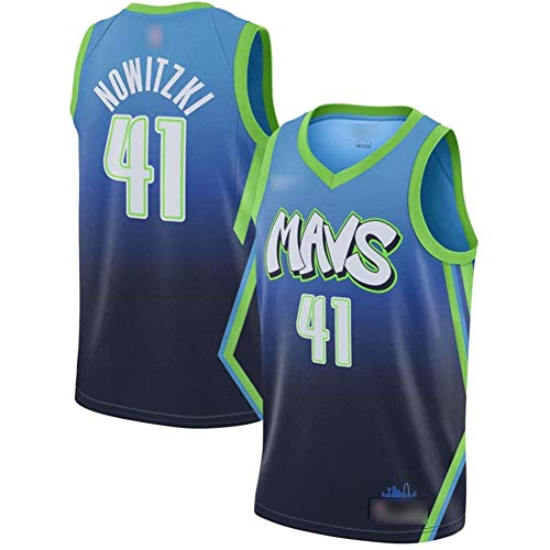 QQA # 41 Nowitzki Mavs NBA-Trikot Jahrgang Klassisch Mesh-Sweatshirt Unisex Ärmellos Swingman Basketball Trikot,Blau,XXL