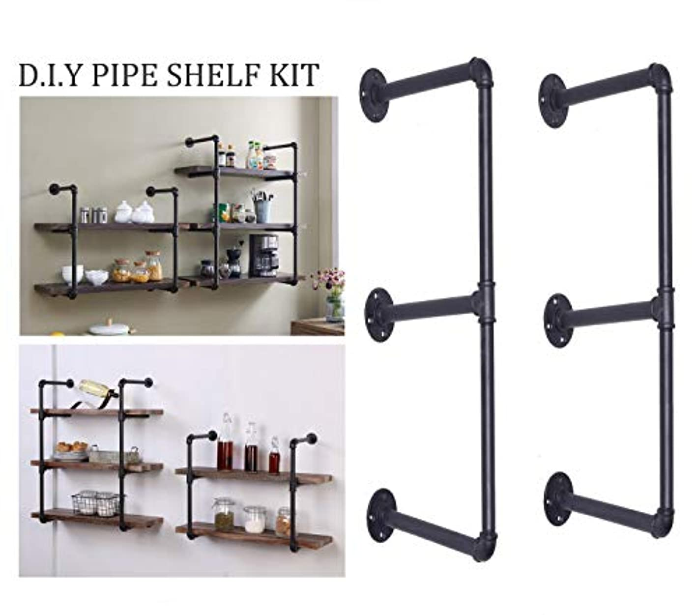 Articial 3-Tier DIY Industrial Pipe Shelf Kit Hanging Bookshelf for Wall Open Pipe Shelving Black (3 Tiers)