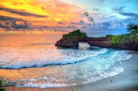 adrium Alu-Dibond-Bild 120 x 80 cm: Tanah Lot Temple on Sea in Bali Island Indonesia, Bild auf Alu-Dibond