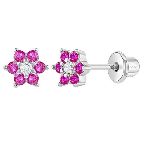 In Season Jewelry - Baby Kleinkind Kinder - Schraubverschluss Ohrringe Heiße Rosa Blume 925 Sterling Silber CZ Zirkonia