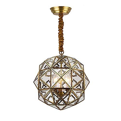 FSYGZJ Lámpara de Techo de Vidrio de 3 Luces, lámpara Colgante de Cobre para el Pasillo del Comedor, lámpara Colgante Antigua Vintage, Acabado en Bronce, lámpara Colgante rústica, Cobre, 40 cm