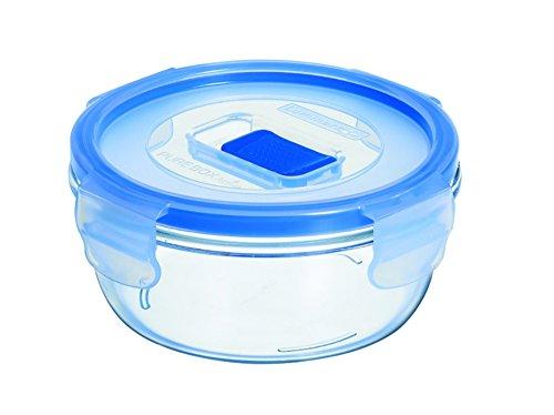 Luminarc Vorratsbehälter Pure Box rund 420 ml, Glas, Transparent, Blue, 12.7 cm