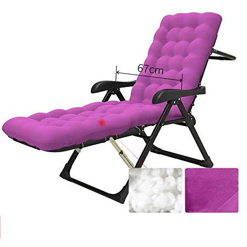 Sedia pieghevole LVZAIXI Tumbona Plegable Cómoda Silla 184cm+ Almohada Desmontable +cojín, Ajuste De 14 Archivos, Reposabrazos De 67cm, Instalación Gratuita (Color : Purple)