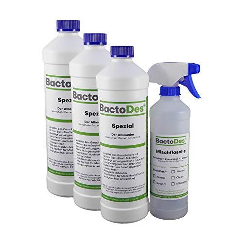 BactoDes Spezial 3l Allround Geruchsentferner-Konzentrat (mind. 6l Gebrauchslösung) | Allzweck- und Urin-Geruchsneutralisierer z.B. bei menschlichem Urin (Harn-Inkontinenz, Bettnässer), Tier-Uringeruch (Hunde-Urin, Katzen-Urin), Erbrochenes etc. | inkl. Geruchsneutralisierer-Spray-Flasche