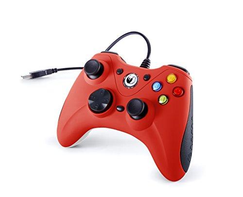 Nacon Manette de Jeu PC (Rouge) - Accessoires de Jeux vidéo (Manette de Jeu, PC, Analogique, Dos, Croix directionnelle, Mode, Démarrer, avec Fil, USB)
