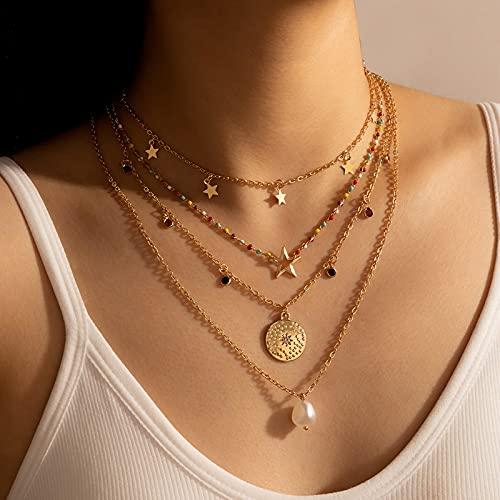 MIKUAB collarExquisito Collar con Colgante de Ojo Malvado de Cristal para Mujer, Regalos, Color Dorado, joyería de Moda al por Mayor