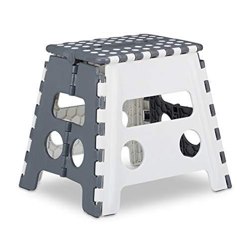 Relaxdays Tritthocker klappbar, einstufiger Klapphocker mit Griff, bis 120 kg, Kunststoff, 32 x 37 x 29,5 cm, grau/weiß