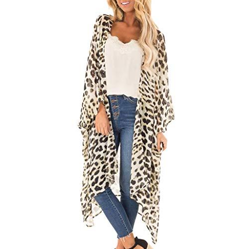 MERICAL Mode 2019 Damen sexy Kurzarm Freizeit Leopardenmuster V-Ausschnitt Lange Strickjacke Mantel (Beige,Medium)