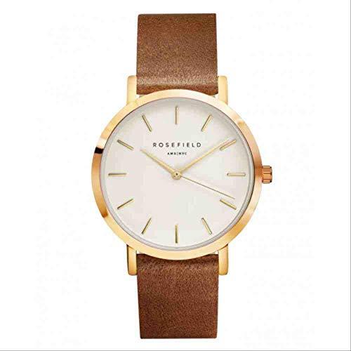 DECTN Reloj de Pulsera Nuevo y Elegante Reloj para Mujer Reloj de Acero Inoxidable con Correa Rose Shell Cinturón marrón con Cara Blanca