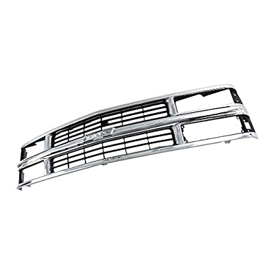 Perfit Liner Front Chrome Silver Black Grille Grill Compatible With CHEVROLET 94-98 C/K 1500 2500 3500 Pickup Truck Suburban Tahoe SUV Fits Late Design With Composite Head Lamp Type GM1200238 15981106