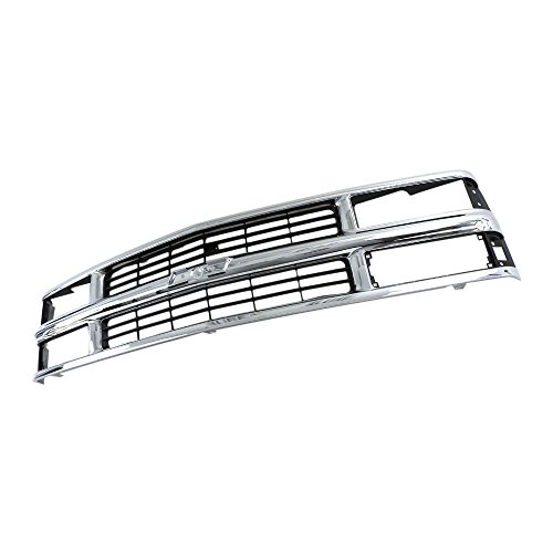 Perfit Liner Front Chrome Silver Black Grille Compatible With 94-98 C/K 1500 2500 3500 Pickup Truck Suburban Tahoe SUV Fits Late Design With Composite Head Lamp Type GM1200238 15981106
